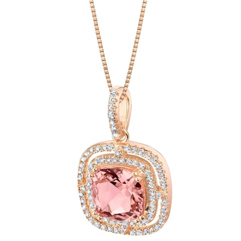 Oravo Simulated Morganite Rose-Tone Sterling Silver Glisten Pendant - Pink