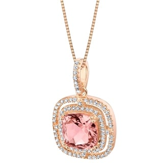 Link to Oravo Simulated Morganite Rose-Tone Sterling Silver Glisten Pendant - Pink Similar Items in Necklaces
