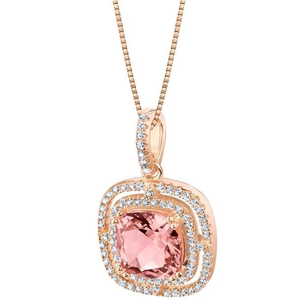 Oravo Simulated Morganite Rose-Tone Sterling Silver Glisten Pendant - Pink. Opens flyout.