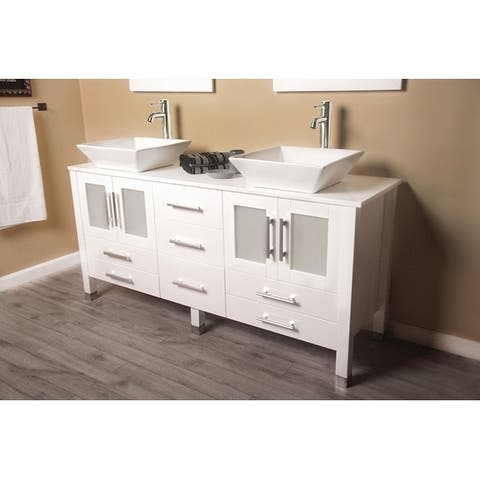 63 inch solid wood vanity with frosted glass counter top and two matching vessel sinks. With Brushed Nickel faucet.