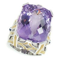 Michael Valitutti Palladium Silver Emerald Cut Brazilian Amethyst & Blue Sapphire Ring