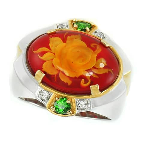 Gems en Vogue Palladium Silver Carved Red Amber Flower, White Sapphire & Chrome Diopside Ring