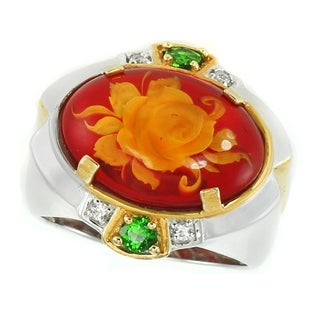 Michael Valitutti Palladium Silver Carved Red Amber Flower, White Sapphire & Chrome Diopside Ring