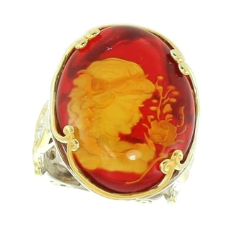 Michael Valitutti Palladium Silver Red Carved Amber Girl & Flower Scrollwork Euro-Shank Ring