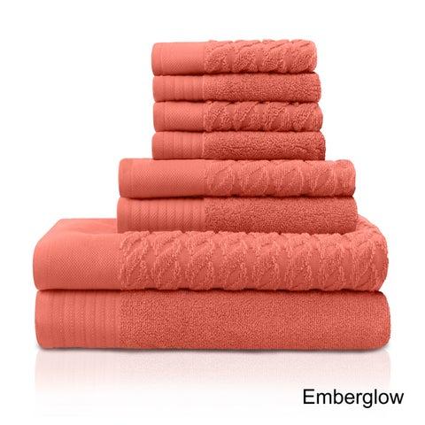 Superior 100 Turkish Cotton Cordage Patterned 8-Piece Towel Set