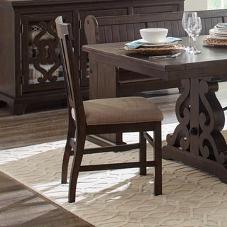 Magnussen Home Furnishings St. Claire Rustic Pine Traditional Dining Side Chair with Off-white Linen Seat Cushions (Set of 2)