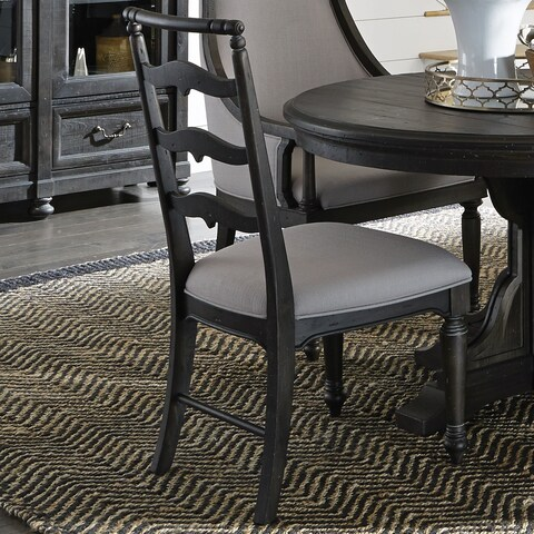 Bedford Corners Dining Side Chair with Upholstered Seat in Anvil Black