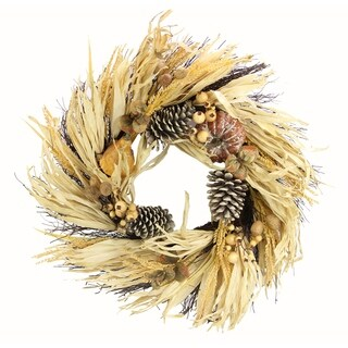 "24"" Artificial Pumpkin Wheat Berry Corn Husk Wreath"