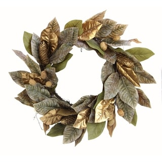 "21"" Artificial Magnolia Leaf Pine Wreath Festive Harvest"