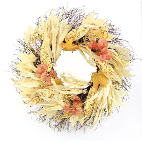 "26"" Artificial Indian Corn Husk Wreath For Festive Harvest"