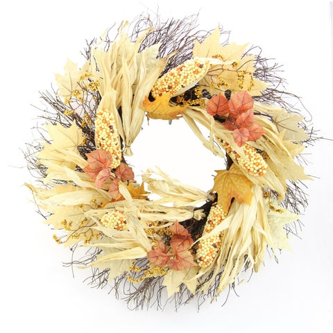 "26"" Artificial Indian Corn Husk Wreath For Festive Harvest"