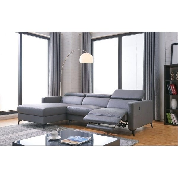 Ladeso Modern Sectional Sofa With Electrical Recliner Dark Grey
