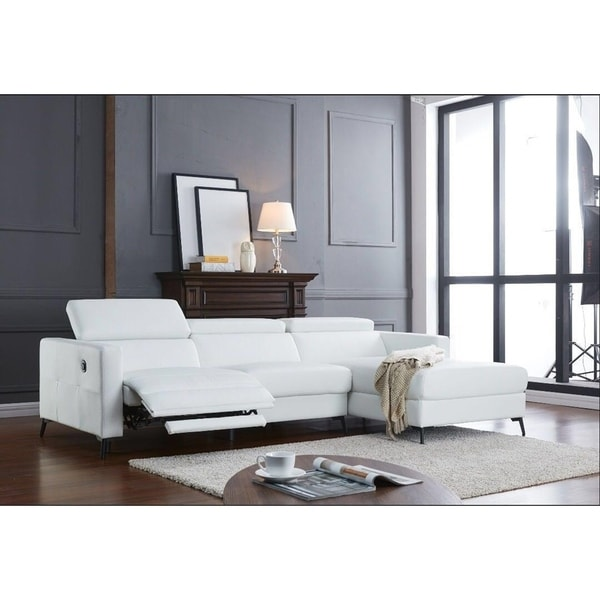 Bon Ladeso Modern Sectional Sofa With Electrical Recliner Snow White