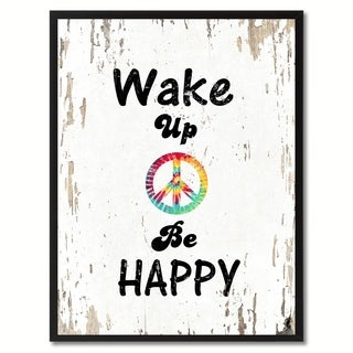 Wake Up & Be Happy Saying Canvas Print Picture Frame Home Decor Wall Art Gifts