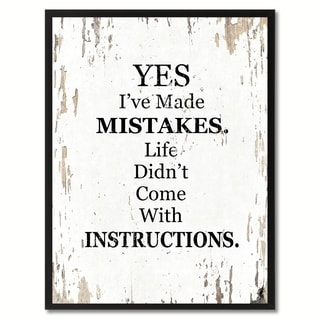 Yes I've Made Mistakes Saying Canvas Print Picture Frame Home Decor Wall Art Gifts
