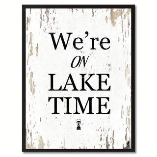 We're On Lake Time Saying Canvas Print Picture Frame Home Decor Wall Art Gifts