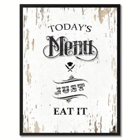 Todays Menu Just Eat It Saying Canvas Print Picture Frame Home Decor Wall Art Gifts