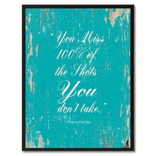 You Miss 100% Of The Shots You Don't Tatke Wayne Gretzky Motivation Saying Canvas Print Picture Frame Home Decor Wall Art Gifts