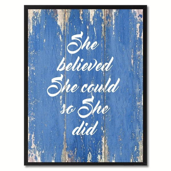 Shop She Believed She Could So She Did Saying Canvas Print Picture