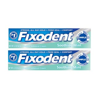 Fixodent 2-ounce Strong All Day Hold Denture Adhesive Cream Soothing Mint (Pack of 2)