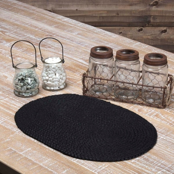 Shop Black Jute Oval Placemat Set Of 6 Overstock 17931372