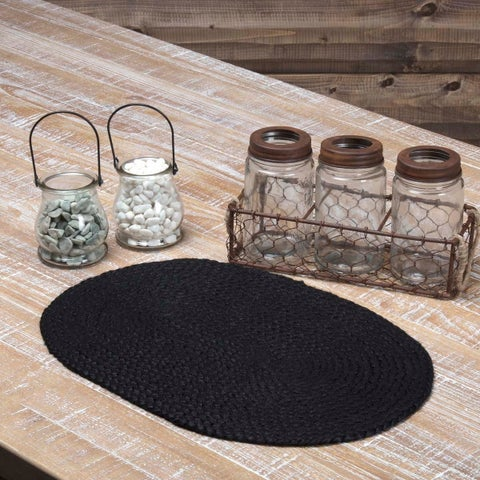 Black Jute Oval Placemat Set of 6