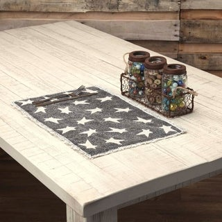 Black Primitive Tabletop Kitchen VHC Black Primitive Star Placemat Set of 6 Cotton Star Distressed Appearance - 12x18