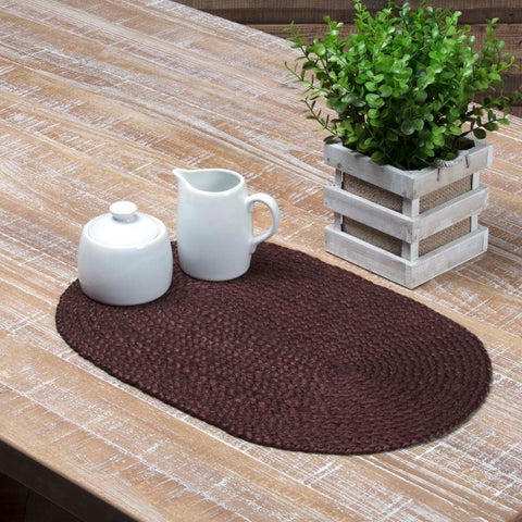 Burgundy Jute Oval Placemat Set of 6