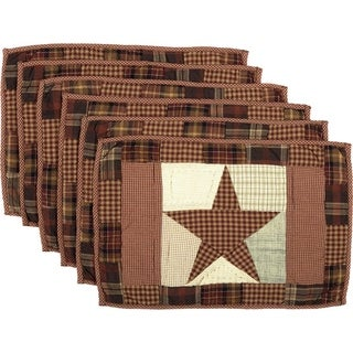 Red Country Tabletop Kitchen VHC Abilene Star Placemat Set of 6 Cotton Star Patchwork - 12x18