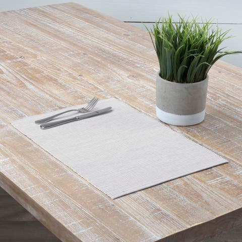 Farmhouse Tabletop Kitchen VHC Ashton Placemat Set of 6 Cotton Striped - Placemat 12x18