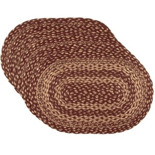 Burgundy Tan Jute Placemat Set of 6
