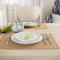 Burlap Natural Fringed Placemat Set of 6