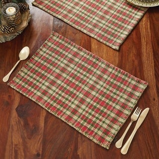 Red Rustic Holiday Decor VHC Claren Placemat Set of 6 Cotton Plaid - 12x18