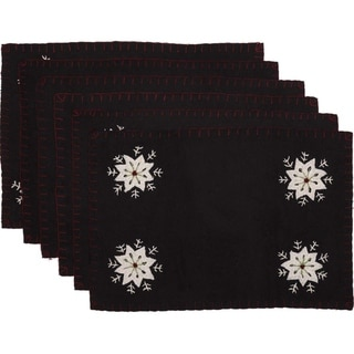Black Farmhouse Holiday Decor VHC Christmas Snowflake Placemat Set of 6 Felt Nature Print Appliqued - 12x18