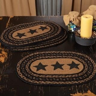 Black Primitive Tabletop Kitchen VHC Farmhouse Stars Placemat Set of 6 Jute Star Stenciled - 12x18