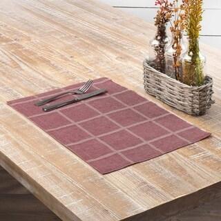 Farmhouse Tabletop Kitchen VHC Julie Placemat Set of 6 Cotton Linen Blend Windowpane Textured - 12x18