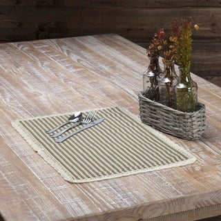Farmhouse Tabletop Kitchen VHC Kendra Stripe Placemat Set of 6 Cotton Striped Chambray - 12x18