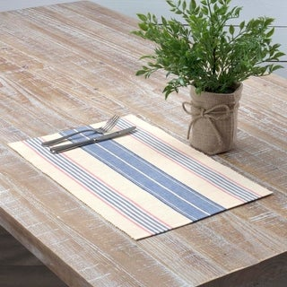 Blue Farmhouse Tabletop Kitchen VHC Cadence Placemat Set of 6 Cotton Striped - Placemat 12x18