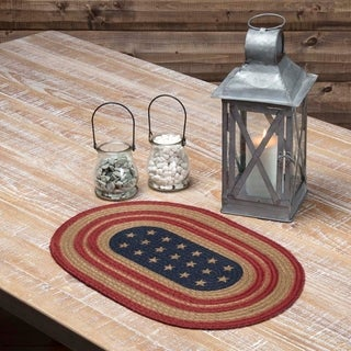 Red Americana Tabletop Kitchen VHC Liberty Stars Flag Placemat Set of 6 Jute Star Stenciled - Placemat 12x18