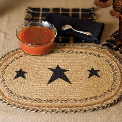 Tan Primitive Tabletop Kitchen VHC Kettle Grove Star Placemat Set of 6 Jute Stenciled - Placemat 12x18