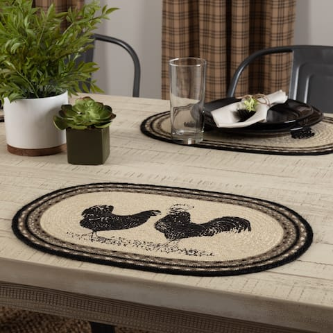 White Farmhouse Tabletop Kitchen VHC Sawyer Mill Poultry Placemat Set of 6 Jute Nature Print Stenciled - Placemat 12x18