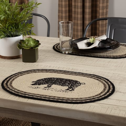 Sawyer Mill Charcoal Pig Jute Placemat Set of 6 12x18 - Placemat 12x18
