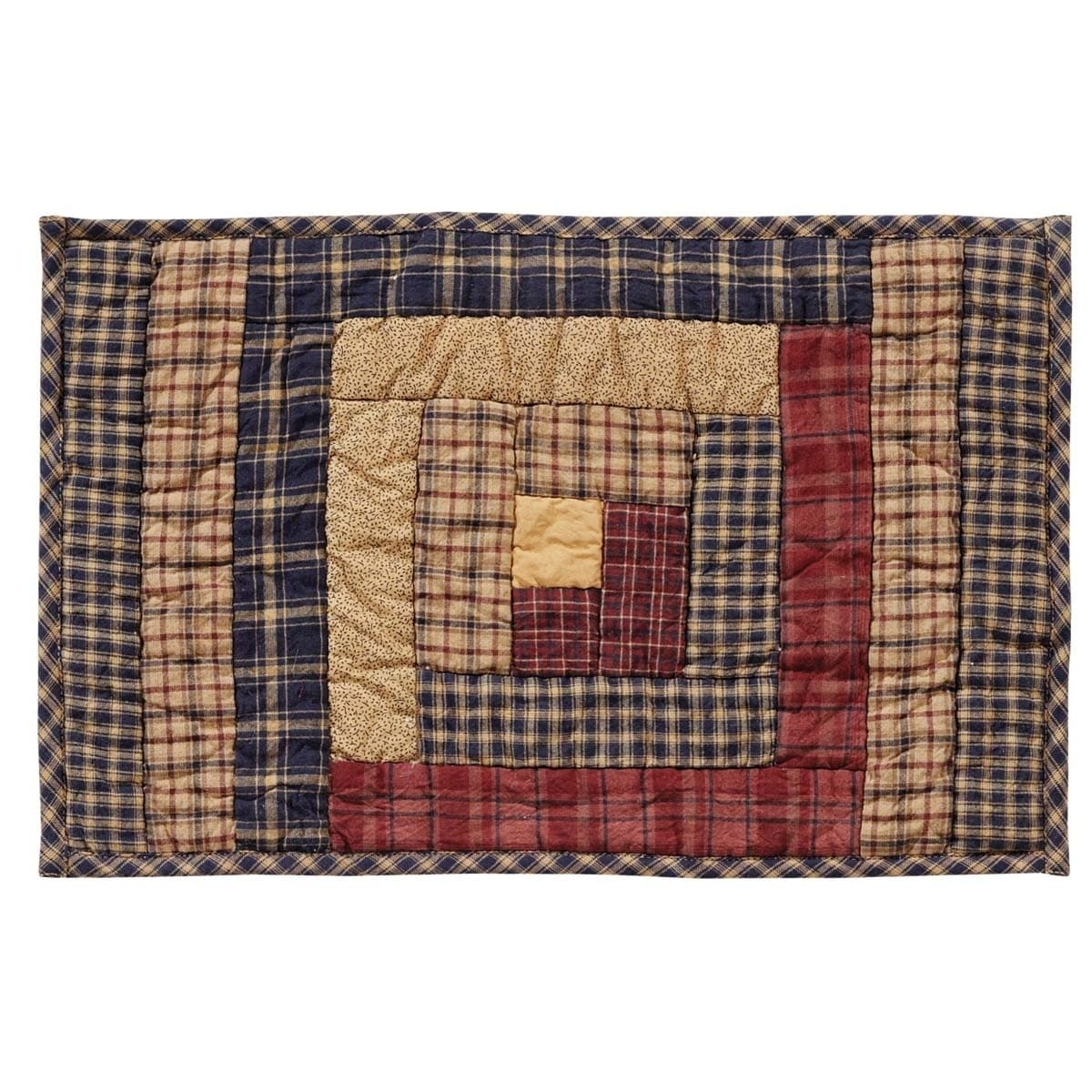 VHC Brands Millsboro Log Cabin Block Quilted Placemat Set...