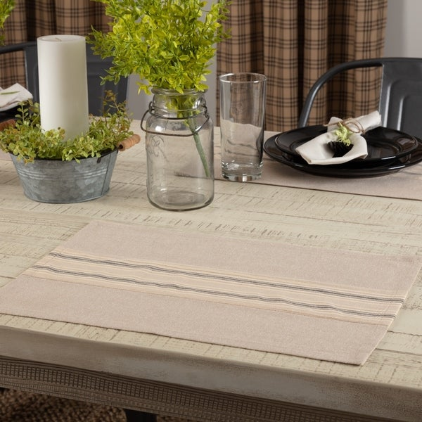 Sawyer Mill Charcoal Stripe Placemat Set of 6 12x18 - Placemat 12x18. Opens flyout.