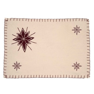 White Farmhouse Holiday Decor VHC North Star Placemat Set of 6 Felt Star Appliqued - 12x18