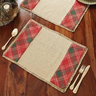 Red Rustic Holiday Decor VHC Whitton Placemat Set of 6 Cotton Plaid Appliqued Cotton Burlap - 12x18