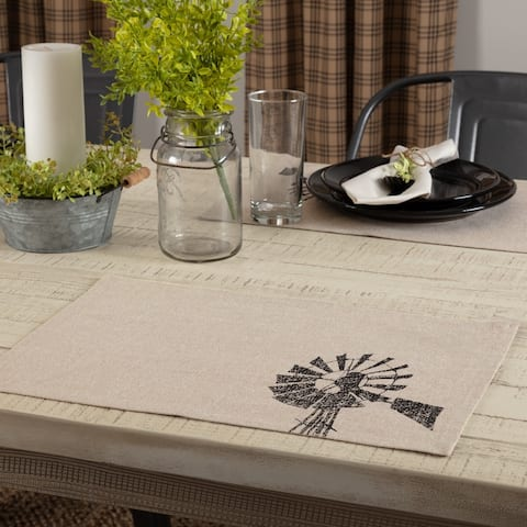 Sawyer Mill Charcoal Windmill Placemat Set of 6 12x18 - Placemat 12x18