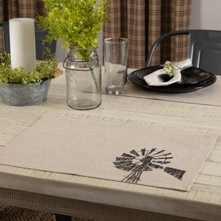 Tan Farmhouse Tabletop Kitchen VHC Sawyer Mill Windmill Placemat Set of 6 Cotton Graphic-Print Stenciled Chambray