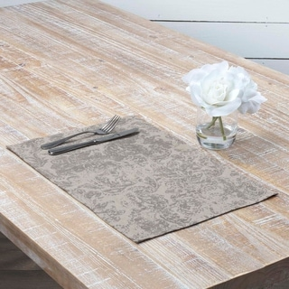 Farmhouse Tabletop Kitchen VHC Rebecca Placemat Set of 6 Cotton Linen Blend Floral - Flower Distressed Appearance