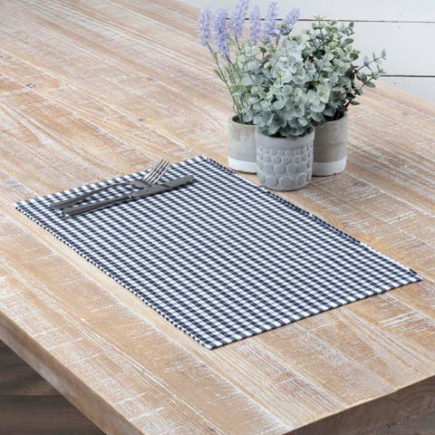 Farmhouse Tabletop Kitchen VHC Tara Placemat Set of 6 Cotton Plaid - Placemat 12x18
